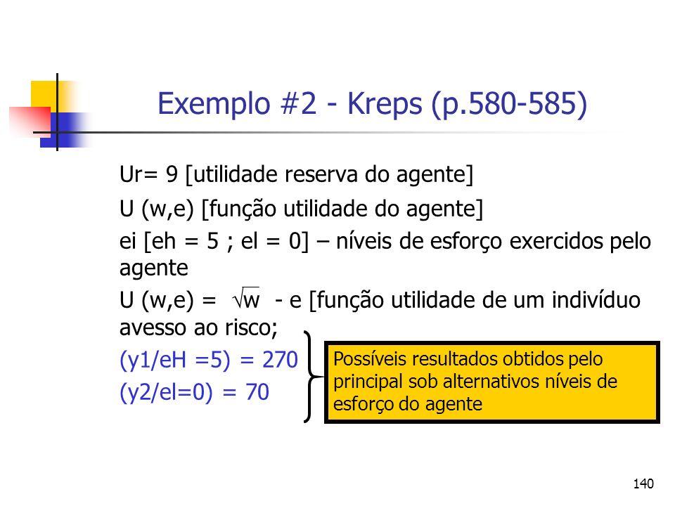 140 Exemplo #2 - Kreps (p.580-585) Ur= 9 [utilidade reserva do agente] U (w,e) [função utilidade do agente] ei [eh = 5 ; el = 0] – níveis de esforço e