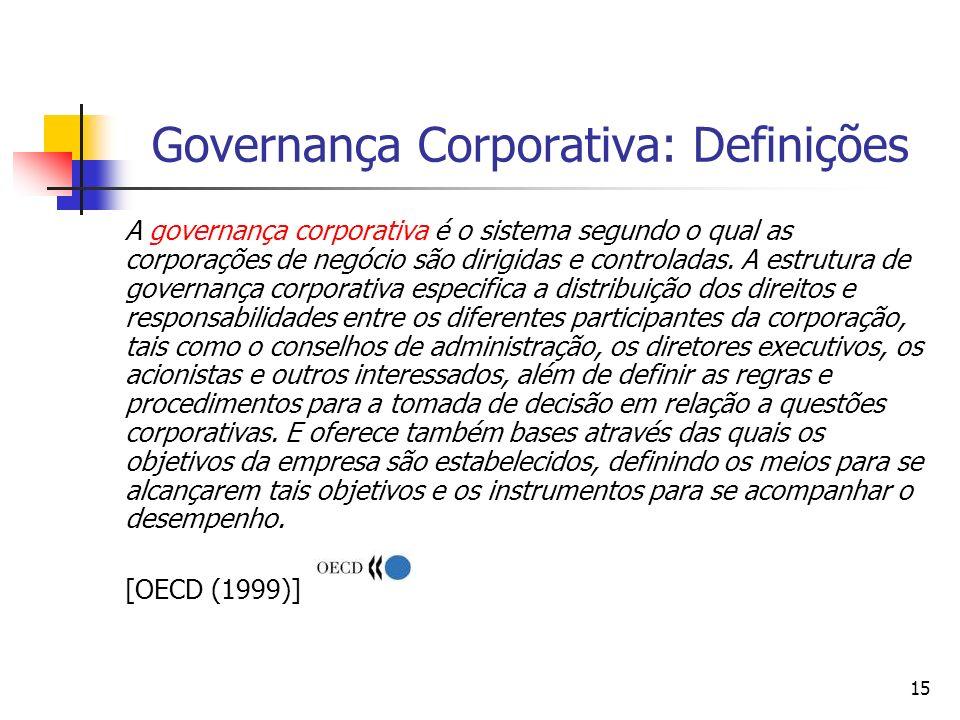 15 Governança Corporativa: Definições A governança corporativa é o sistema segundo o qual as corporações de negócio são dirigidas e controladas. A est