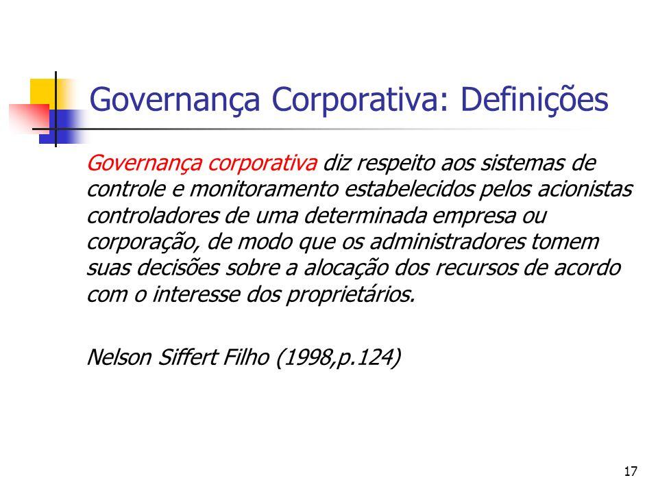 17 Governança Corporativa: Definições Governança corporativa diz respeito aos sistemas de controle e monitoramento estabelecidos pelos acionistas cont