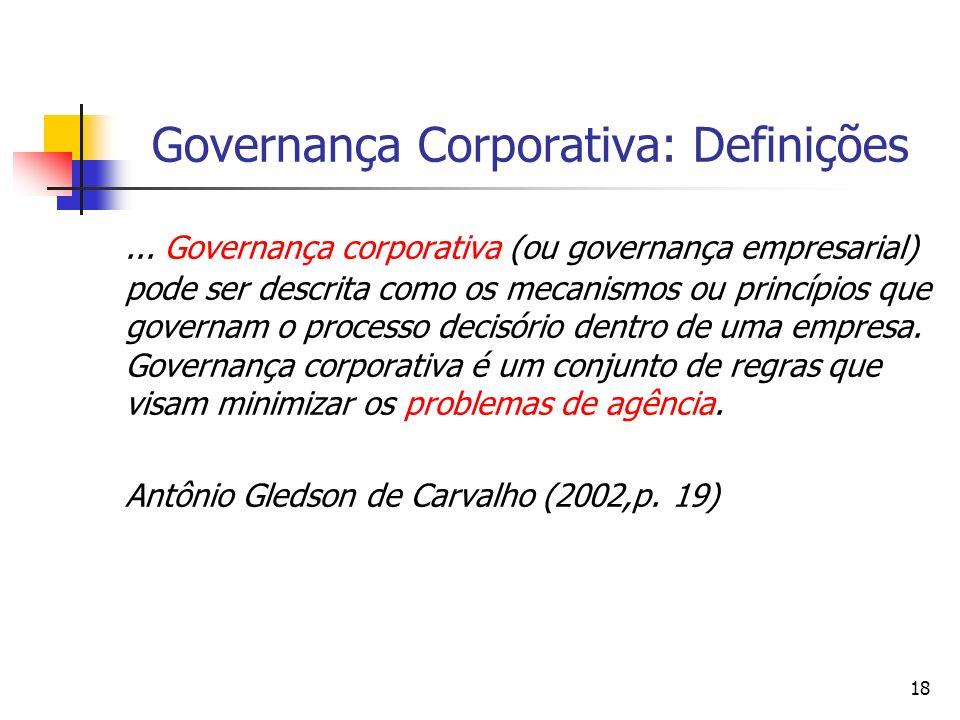 18 Governança Corporativa: Definições... Governança corporativa (ou governança empresarial) pode ser descrita como os mecanismos ou princípios que gov