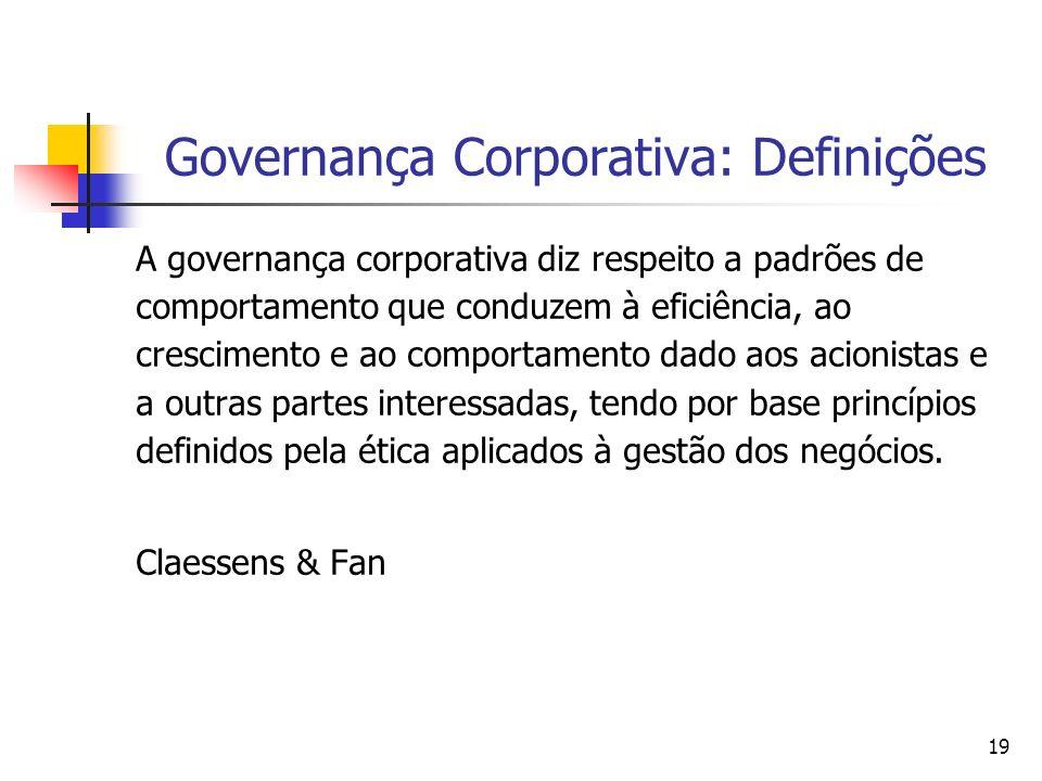 19 Governança Corporativa: Definições A governança corporativa diz respeito a padrões de comportamento que conduzem à eficiência, ao crescimento e ao