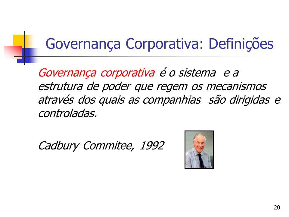 20 Governança Corporativa: Definições Governança corporativa é o sistema e a estrutura de poder que regem os mecanismos através dos quais as companhia