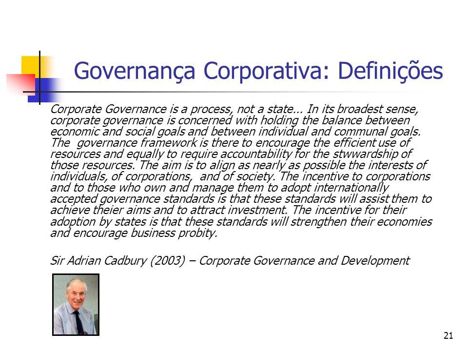 21 Governança Corporativa: Definições Corporate Governance is a process, not a state... In its broadest sense, corporate governance is concerned with