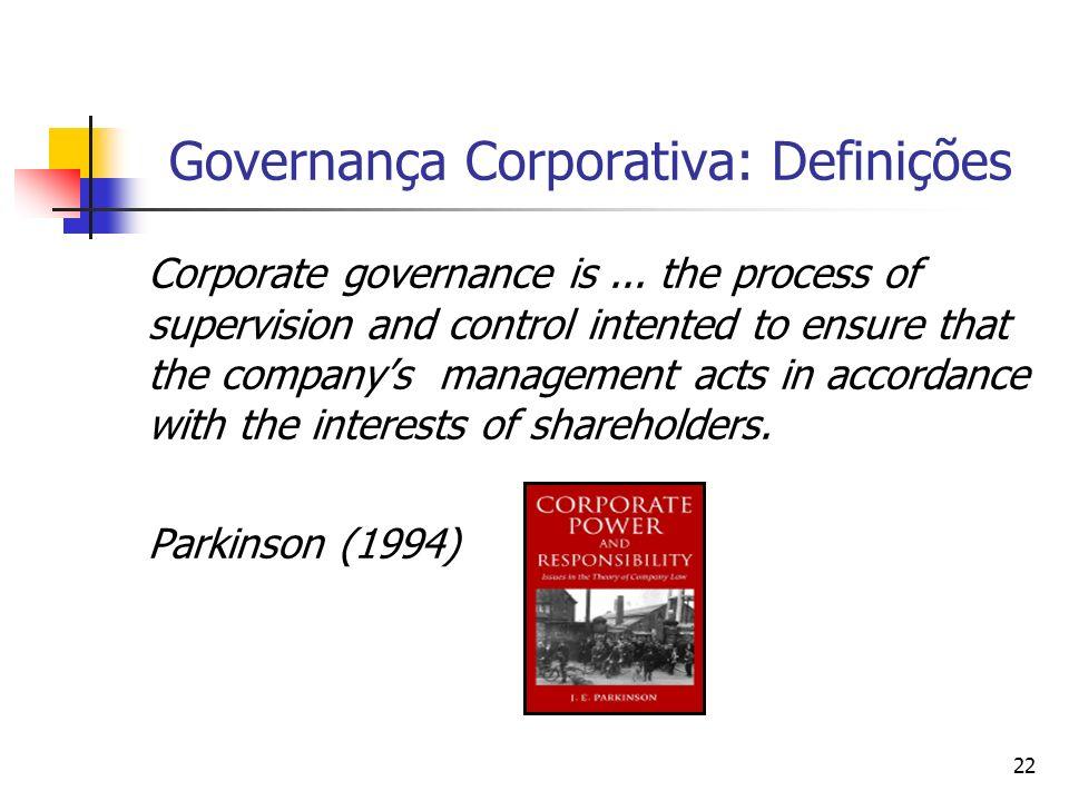 22 Governança Corporativa: Definições Corporate governance is... the process of supervision and control intented to ensure that the companys managemen