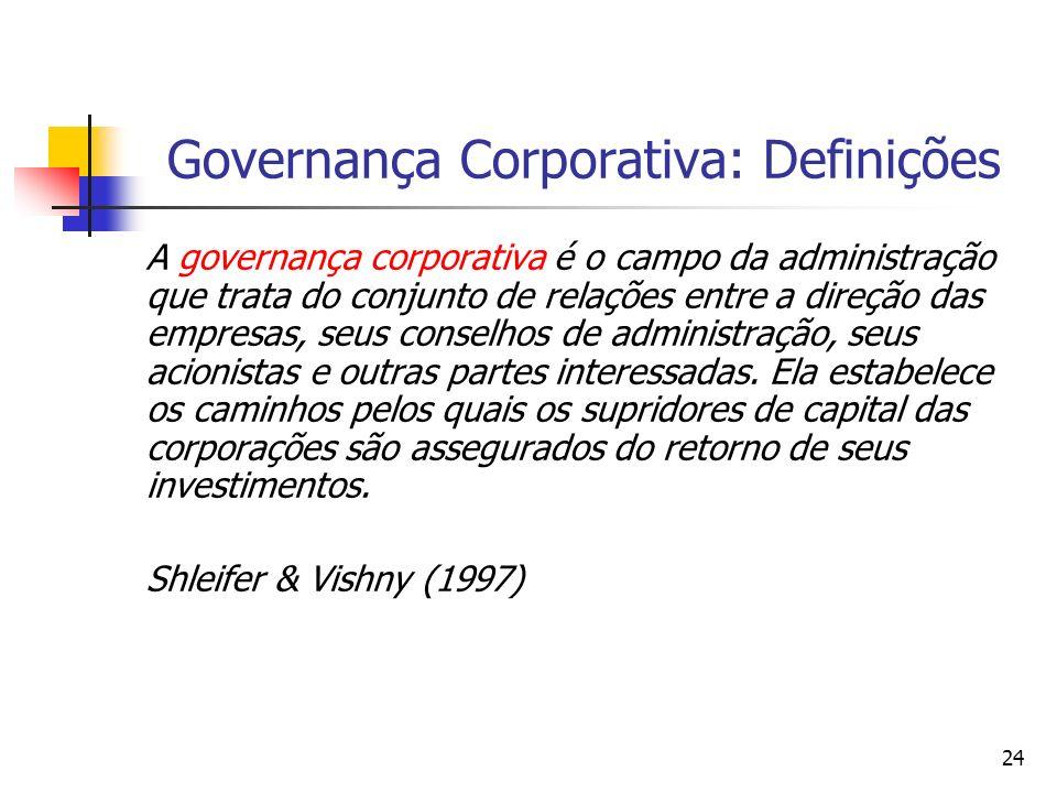 24 Governança Corporativa: Definições A governança corporativa é o campo da administração que trata do conjunto de relações entre a direção das empres