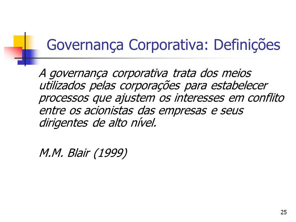 25 Governança Corporativa: Definições A governança corporativa trata dos meios utilizados pelas corporações para estabelecer processos que ajustem os
