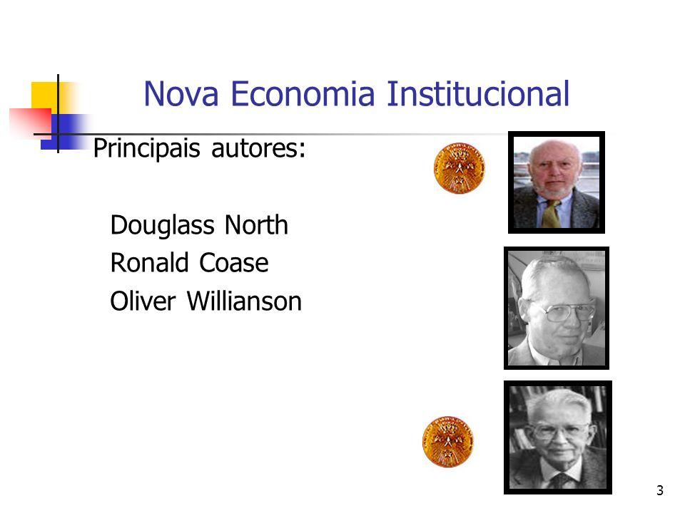 3 Nova Economia Institucional Principais autores: Douglass North Ronald Coase Oliver Willianson