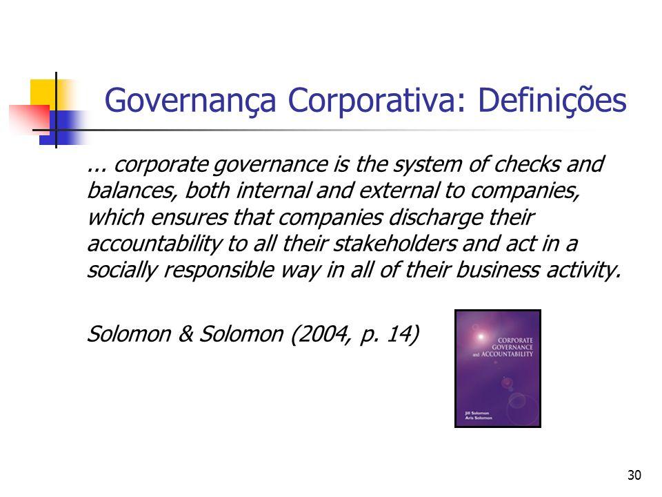 30 Governança Corporativa: Definições... corporate governance is the system of checks and balances, both internal and external to companies, which ens