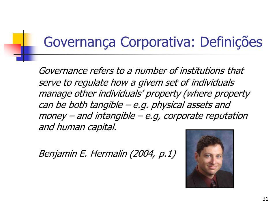 31 Governança Corporativa: Definições Governance refers to a number of institutions that serve to regulate how a givem set of individuals manage other