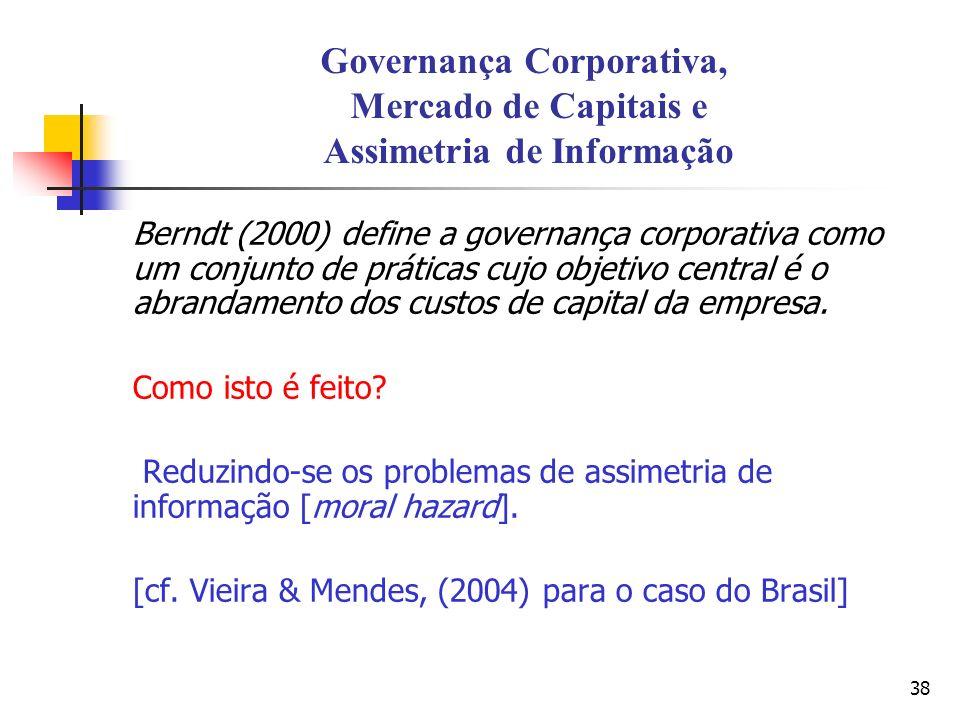 38 Governança Corporativa, Mercado de Capitais e Assimetria de Informação Berndt (2000) define a governança corporativa como um conjunto de práticas c