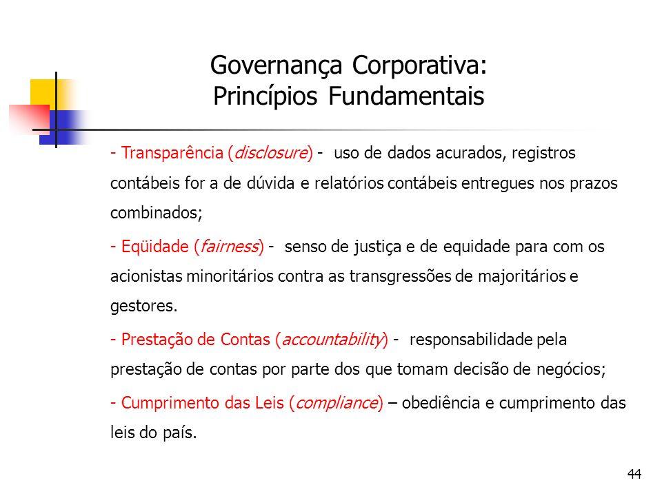 44 Governança Corporativa: Princípios Fundamentais - Transparência (disclosure) - uso de dados acurados, registros contábeis for a de dúvida e relatór