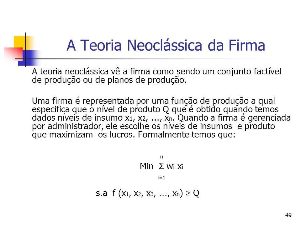 49 A Teoria Neoclássica da Firma A teoria neoclássica vê a firma como sendo um conjunto factível de produção ou de planos de produção. Uma firma é rep