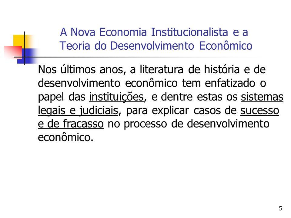 5 A Nova Economia Institucionalista e a Teoria do Desenvolvimento Econômico Nos últimos anos, a literatura de história e de desenvolvimento econômico