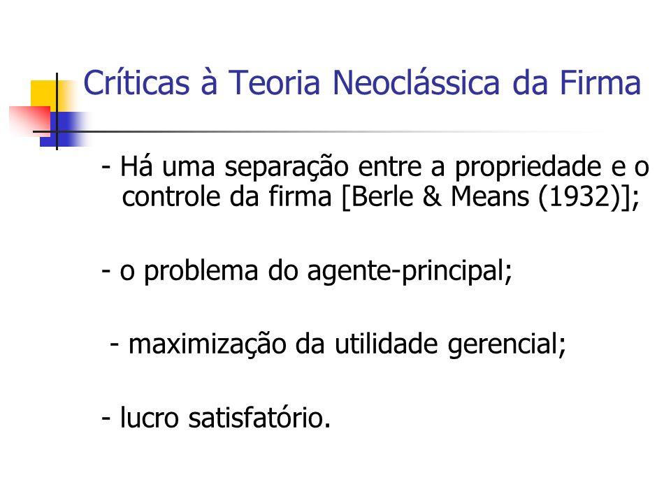Críticas à Teoria Neoclássica da Firma - Há uma separação entre a propriedade e o controle da firma [Berle & Means (1932)]; - o problema do agente-pri