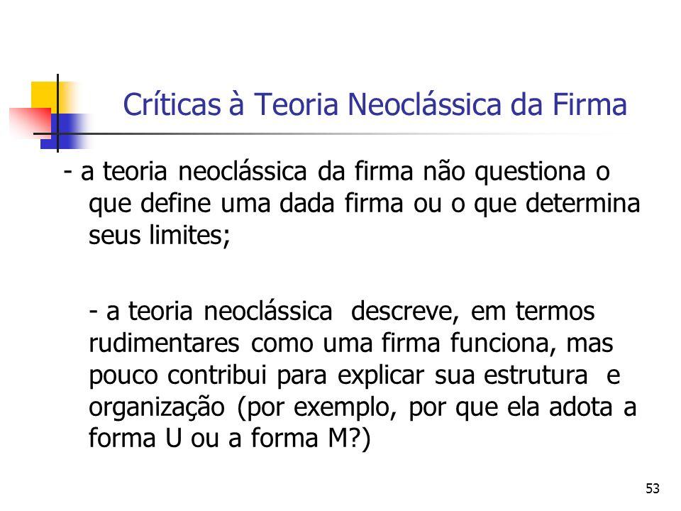 53 Críticas à Teoria Neoclássica da Firma - a teoria neoclássica da firma não questiona o que define uma dada firma ou o que determina seus limites; -