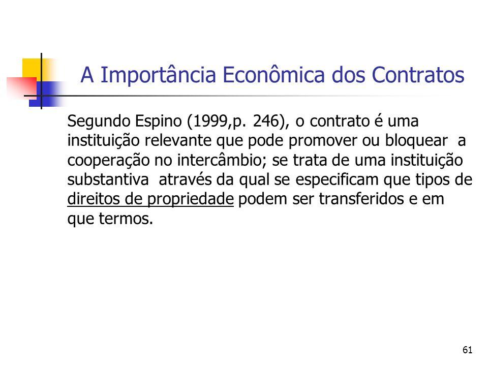 61 A Importância Econômica dos Contratos Segundo Espino (1999,p. 246), o contrato é uma instituição relevante que pode promover ou bloquear a cooperaç