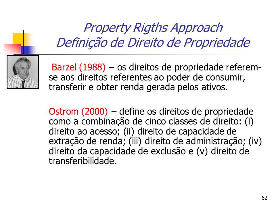 62 Property Rigths Approach Definição de Direito de Propriedade Barzel (1988) – os direitos de propriedade referem- se aos direitos referentes ao pode
