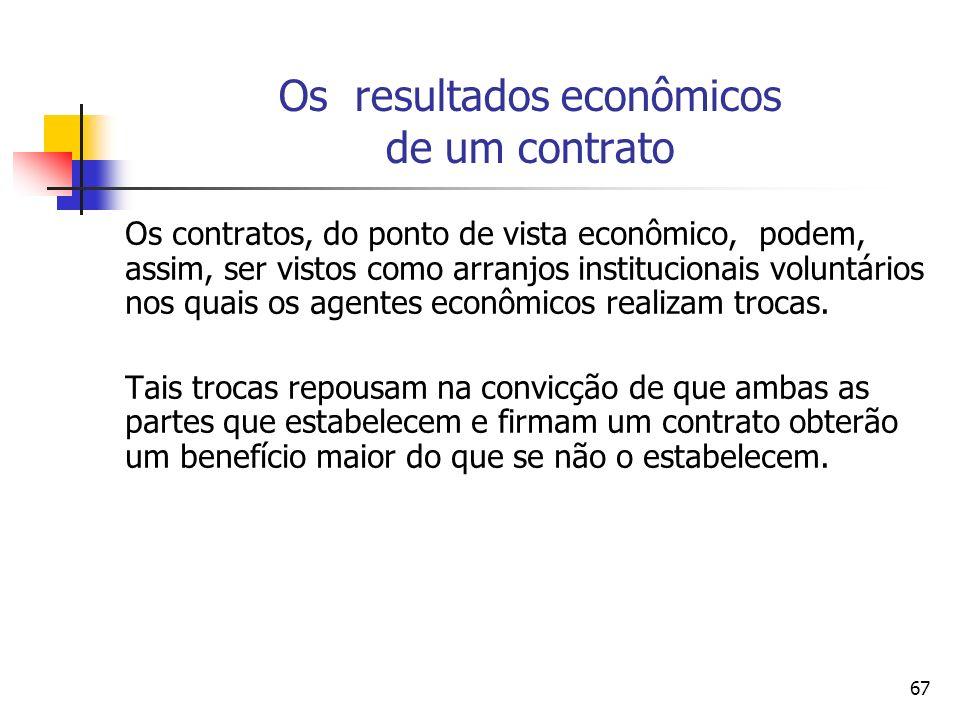 67 Os resultados econômicos de um contrato Os contratos, do ponto de vista econômico, podem, assim, ser vistos como arranjos institucionais voluntário