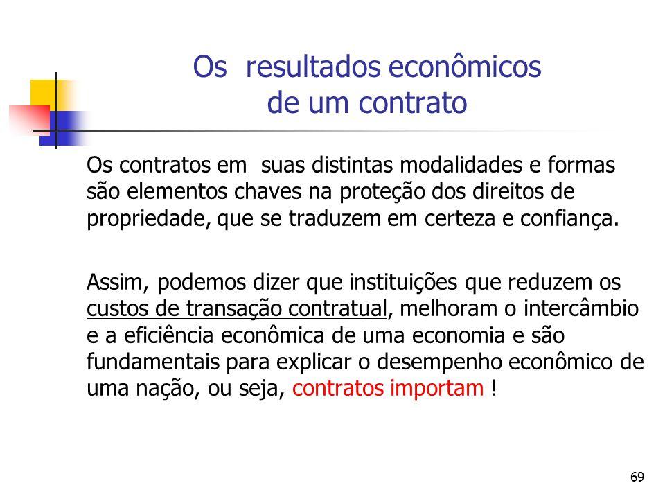69 Os resultados econômicos de um contrato Os contratos em suas distintas modalidades e formas são elementos chaves na proteção dos direitos de propri