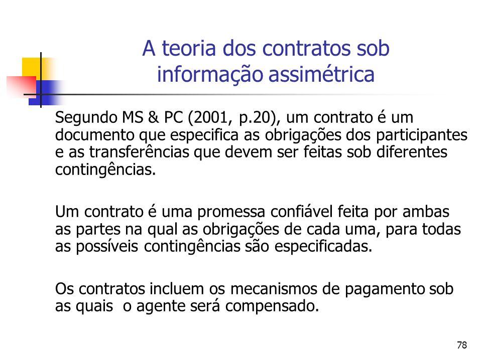 78 A teoria dos contratos sob informação assimétrica Segundo MS & PC (2001, p.20), um contrato é um documento que especifica as obrigações dos partici