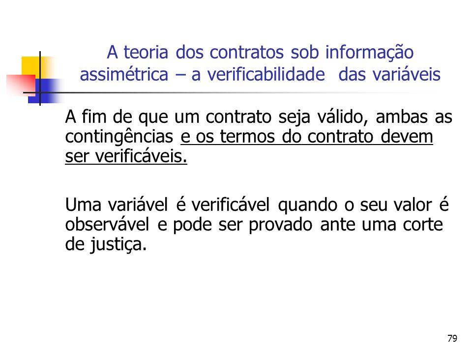 79 A teoria dos contratos sob informação assimétrica – a verificabilidade das variáveis A fim de que um contrato seja válido, ambas as contingências e