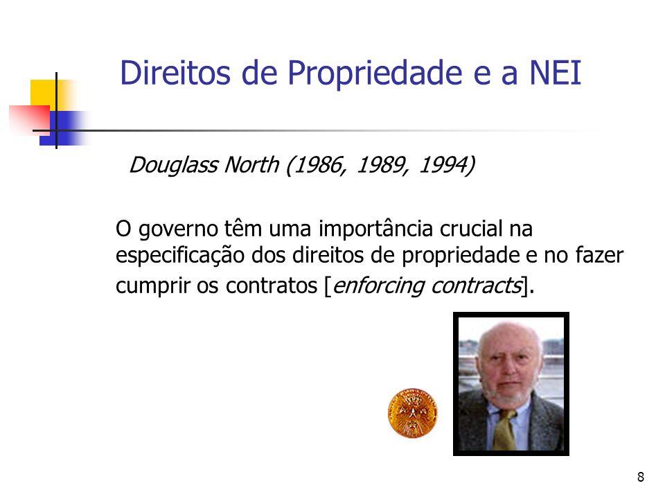 8 Direitos de Propriedade e a NEI Douglass North (1986, 1989, 1994) O governo têm uma importância crucial na especificação dos direitos de propriedade
