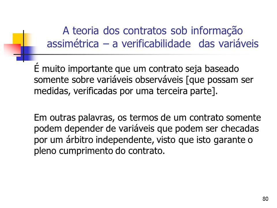 80 A teoria dos contratos sob informação assimétrica – a verificabilidade das variáveis É muito importante que um contrato seja baseado somente sobre