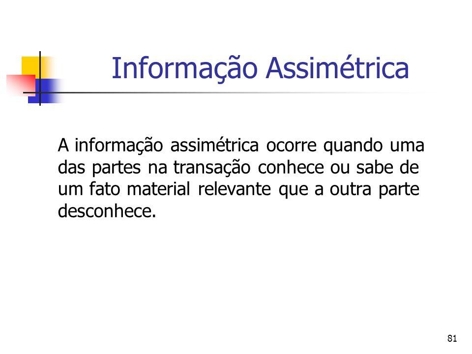 81 Informação Assimétrica A informação assimétrica ocorre quando uma das partes na transação conhece ou sabe de um fato material relevante que a outra