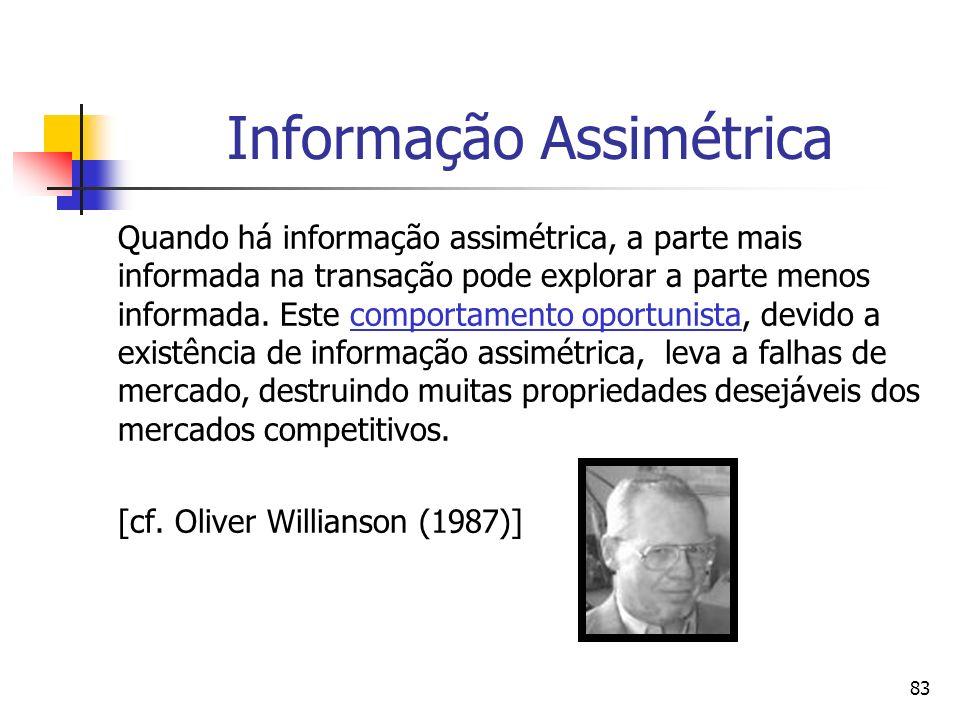 83 Informação Assimétrica Quando há informação assimétrica, a parte mais informada na transação pode explorar a parte menos informada. Este comportame