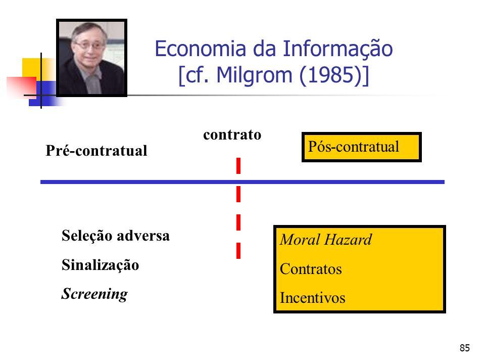 85 Economia da Informação [cf. Milgrom (1985)] Seleção adversa Sinalização Screening Moral Hazard Contratos Incentivos contrato Pré-contratual Pós-con