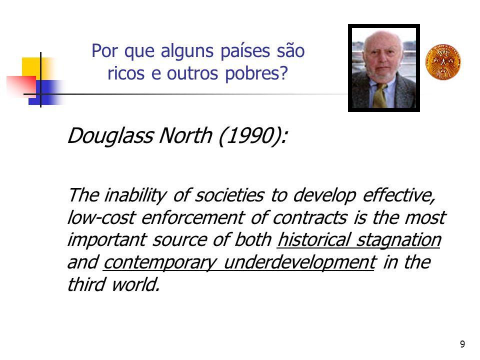 9 Por que alguns países são ricos e outros pobres? Douglass North (1990): The inability of societies to develop effective, low-cost enforcement of con