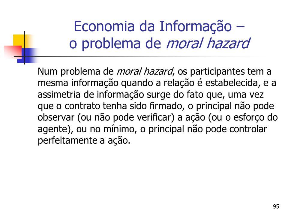 95 Economia da Informação – o problema de moral hazard Num problema de moral hazard, os participantes tem a mesma informação quando a relação é estabe