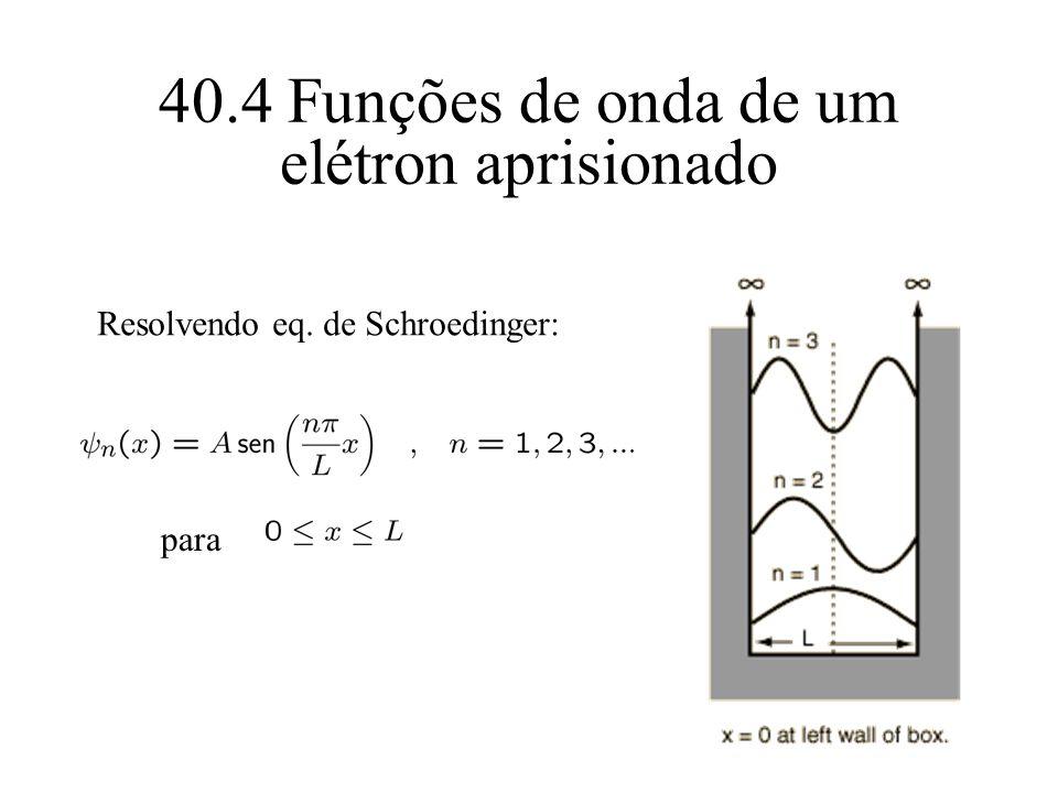40.4 Funções de onda de um elétron aprisionado para Resolvendo eq. de Schroedinger: