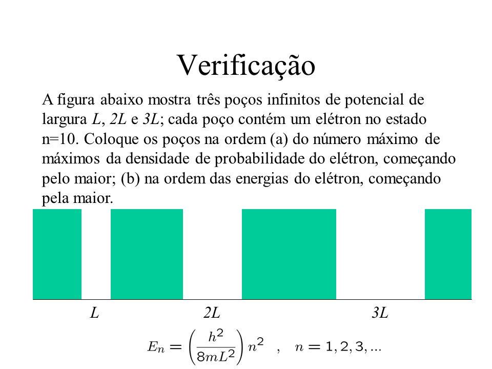 Verificação A figura abaixo mostra três poços infinitos de potencial de largura L, 2L e 3L; cada poço contém um elétron no estado n=10. Coloque os poç