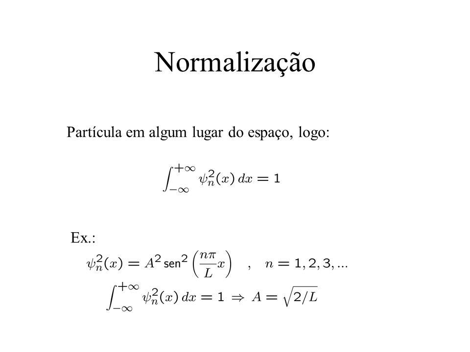 Normalização Partícula em algum lugar do espaço, logo: Ex.: