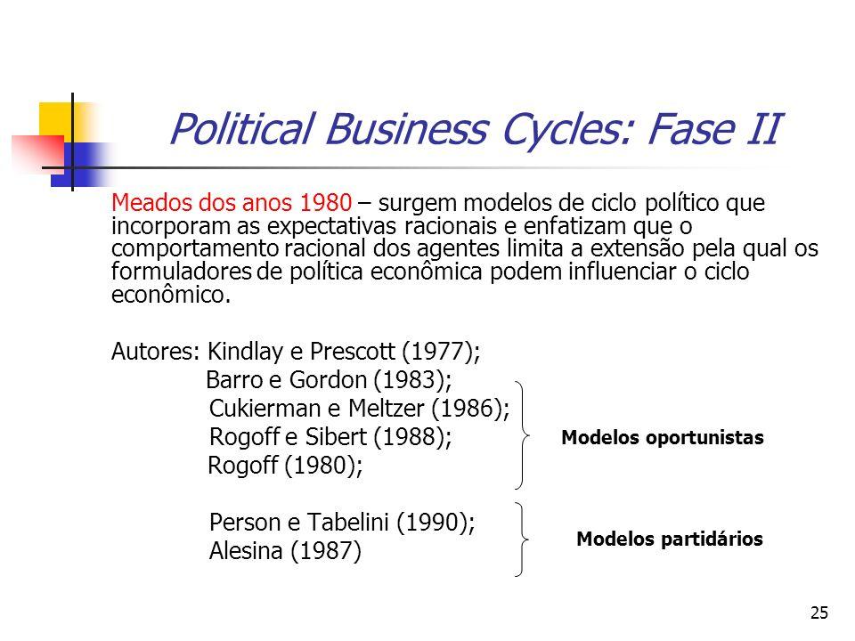 25 Political Business Cycles: Fase II Meados dos anos 1980 – surgem modelos de ciclo político que incorporam as expectativas racionais e enfatizam que