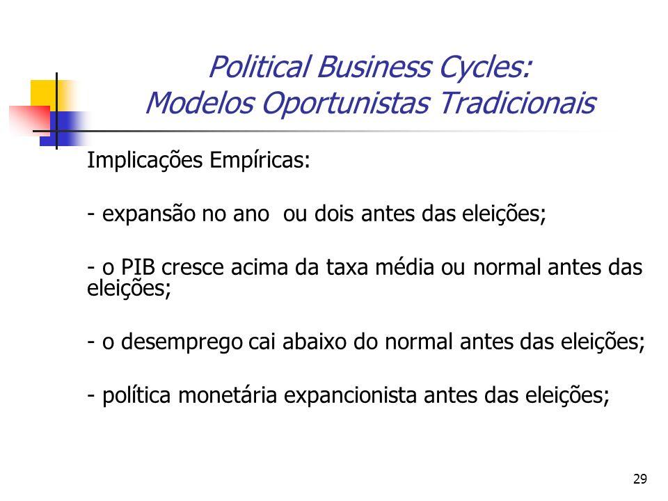 29 Political Business Cycles: Modelos Oportunistas Tradicionais Implicações Empíricas: - expansão no ano ou dois antes das eleições; - o PIB cresce ac