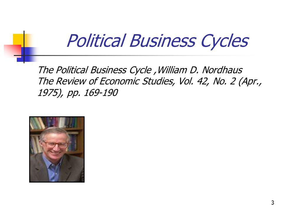 4 Political Business Cycles Os modelos político econômicos pretendem introduzir o setor econômico e analisar de que modo o estado da economia influencia das preferências dos eleitores e, consequentemente, a avaliação dos partidos, e de que forma o governo, por sua vez, influencia o estado da economia (inflação, desemprego, investimento, taxa de juros, gastos governamentais, transferências, subsídios etc.)