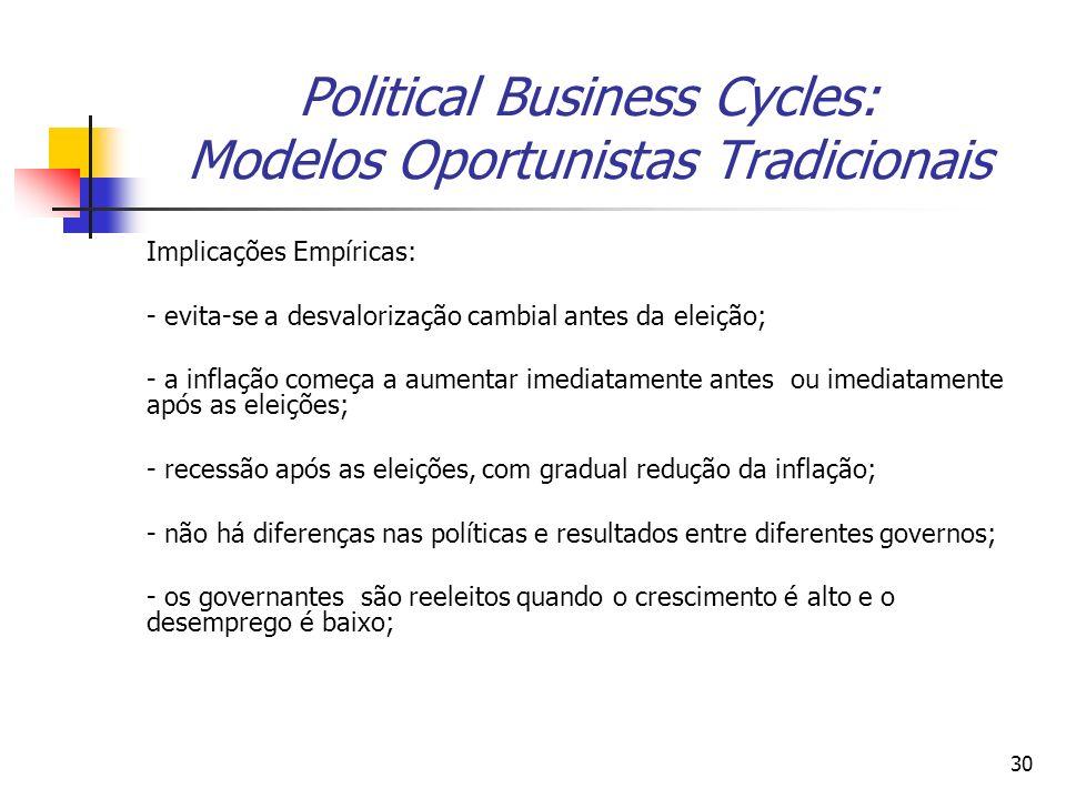 30 Political Business Cycles: Modelos Oportunistas Tradicionais Implicações Empíricas: - evita-se a desvalorização cambial antes da eleição; - a infla