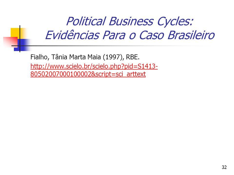 32 Political Business Cycles: Evidências Para o Caso Brasileiro Fialho, Tânia Marta Maia (1997), RBE. http://www.scielo.br/scielo.php?pid=S1413- 80502
