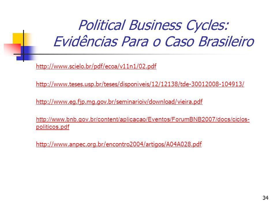 34 Political Business Cycles: Evidências Para o Caso Brasileiro http://www.scielo.br/pdf/ecoa/v11n1/02.pdf http://www.teses.usp.br/teses/disponiveis/1