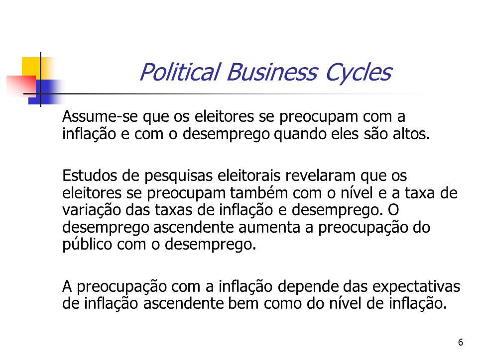 7 Political Business Cycles Os modelos político econômicos pretendem introduzir explicitamente o setor econômico e analisar de que modo o estado da economia influencia as preferências dos eleitores e, consequentemente, a avaliação dos partidos, e de que forma o governo, por sua vez, influencia o estado da economia.