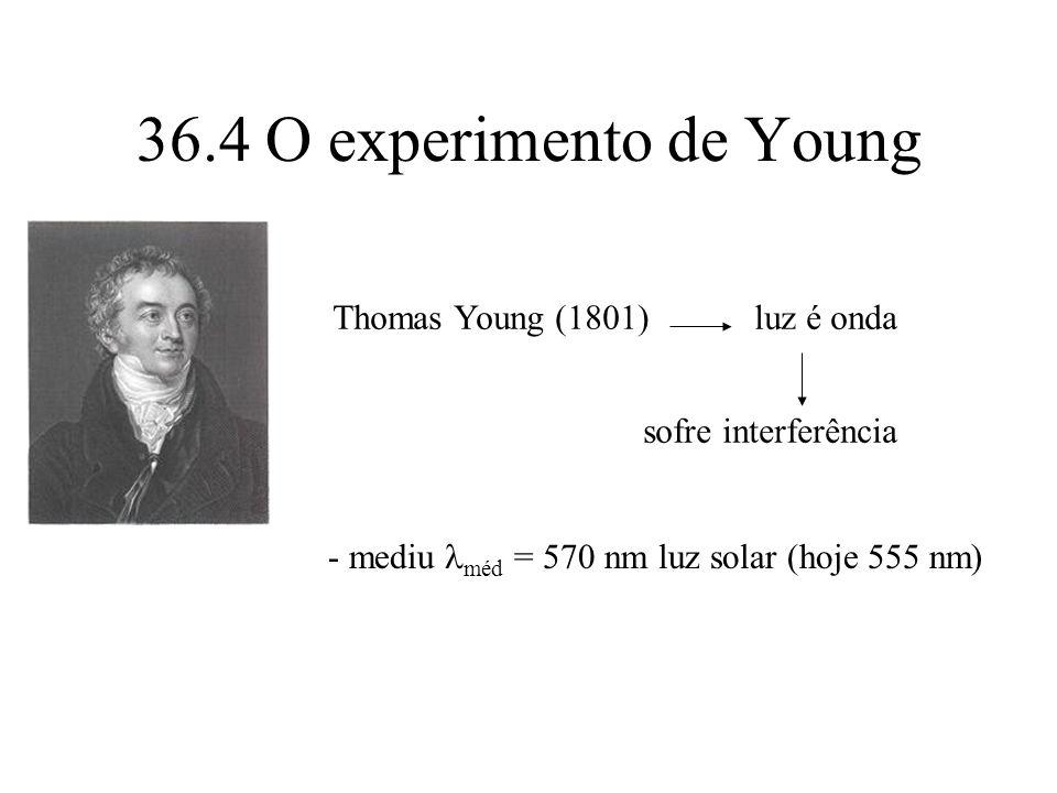36.4 O experimento de Young Thomas Young (1801) luz é onda sofre interferência - mediu méd = 570 nm luz solar (hoje 555 nm)