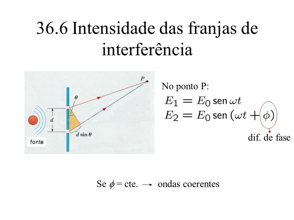 36.6 Intensidade das franjas de interferência No ponto P: dif. de fase Se = cte. ondas coerentes fonte