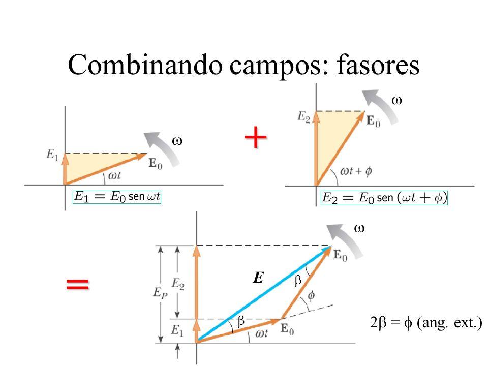 Combinando campos: fasores + = E 2 = (ang. ext.)