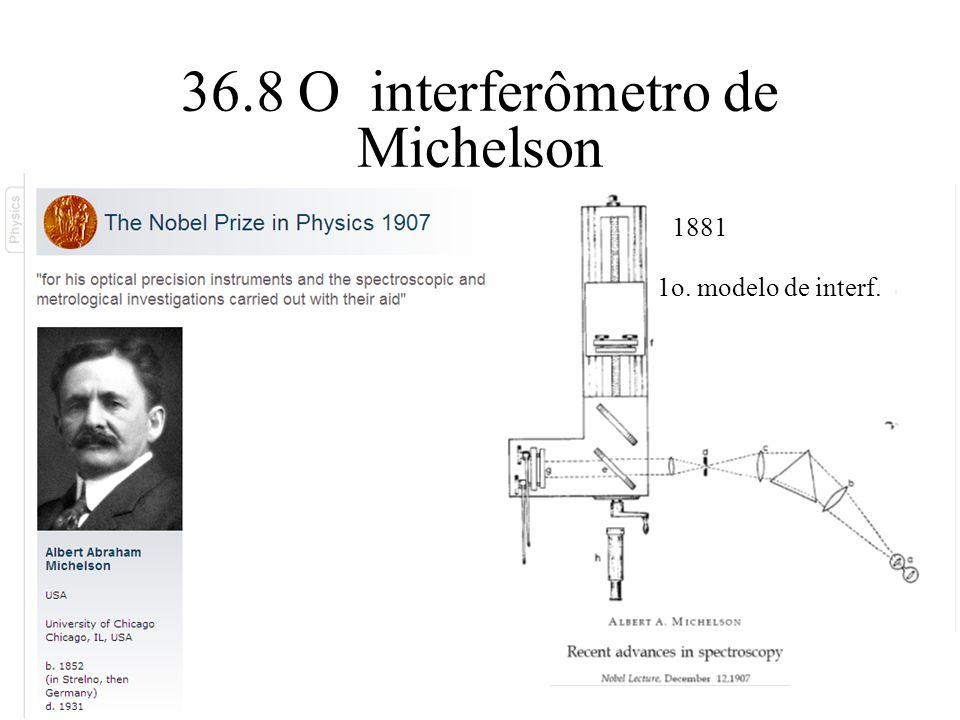 36.8 O interferômetro de Michelson 1881 1o. modelo de interf.