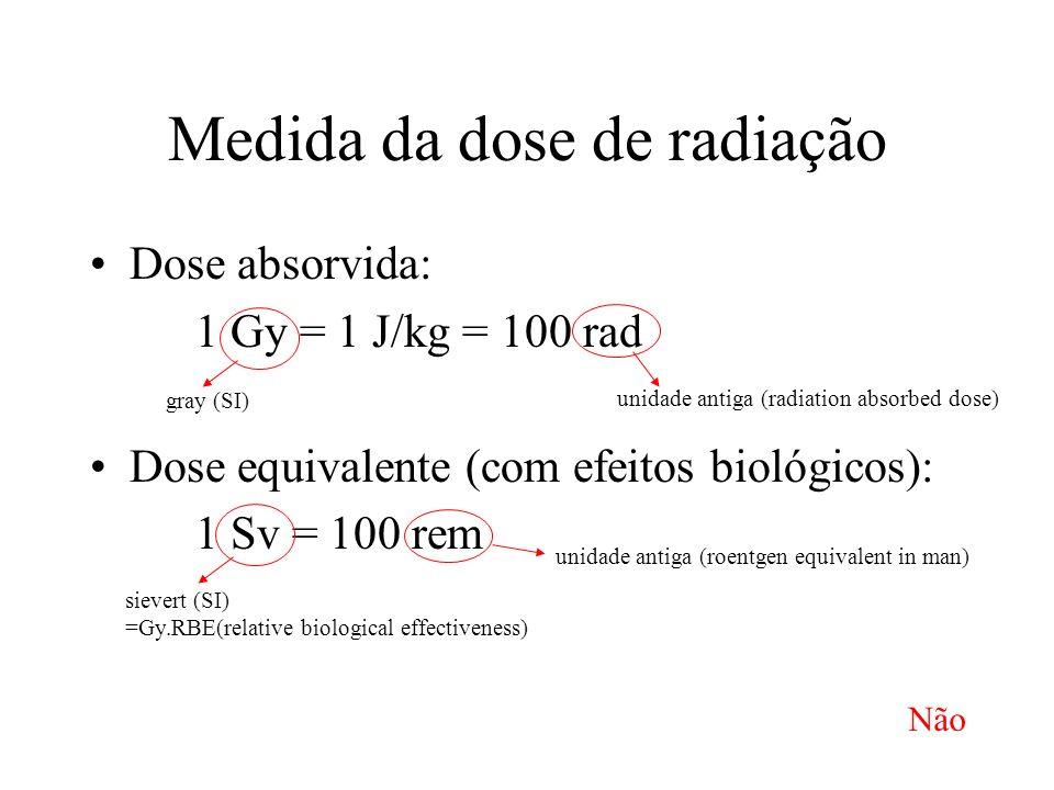 Medida da dose de radiação Dose absorvida: 1 Gy = 1 J/kg = 100 rad Dose equivalente (com efeitos biológicos): 1 Sv = 100 rem gray (SI) unidade antiga