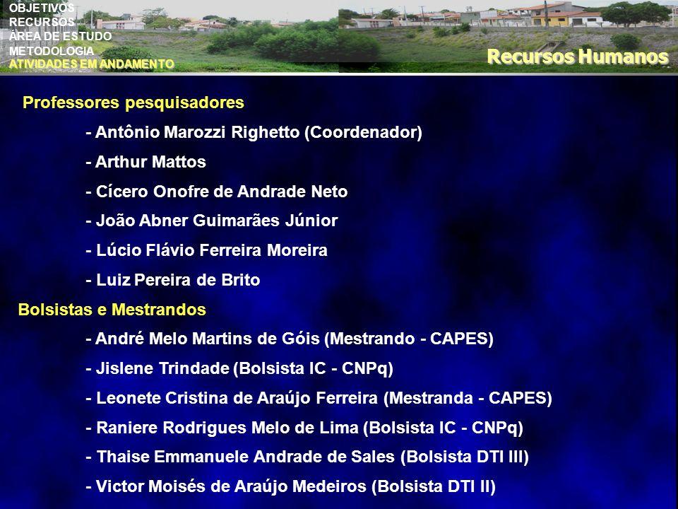 OBJETIVOS RECURSOS ÁREA DE ESTUDO METODOLOGIA Recursos Humanos Professores pesquisadores - Antônio Marozzi Righetto (Coordenador) - Arthur Mattos - Cí