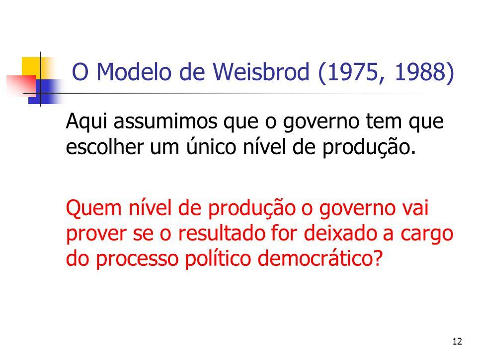 12 O Modelo de Weisbrod (1975, 1988) Aqui assumimos que o governo tem que escolher um único nível de produção. Quem nível de produção o governo vai pr