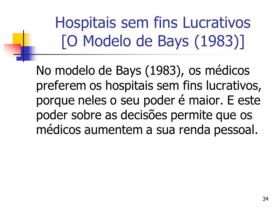 34 Hospitais sem fins Lucrativos [O Modelo de Bays (1983)] No modelo de Bays (1983), os médicos preferem os hospitais sem fins lucrativos, porque nele